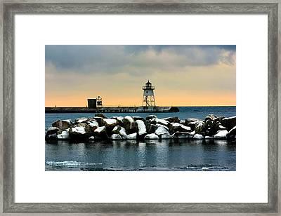 Grand Marais Lighthouse Framed Print by Amanda Stadther