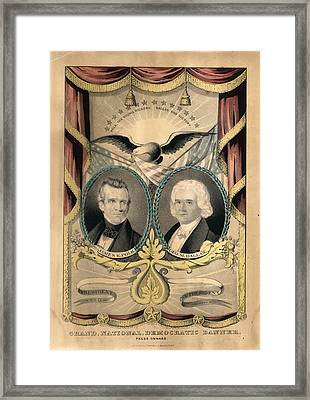 Grand National Democratic Banner. Press Onward N. Currier Framed Print by Litz Collection