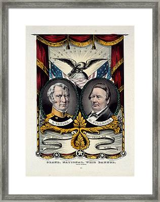 Grand National Whig Banner Press Onward  Lith. & Pub. By N Framed Print