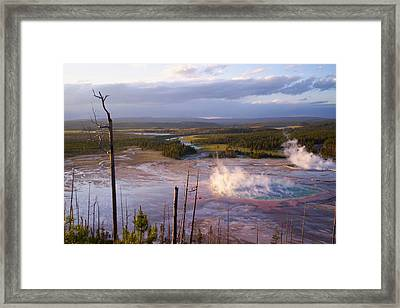 Framed Print featuring the photograph Grand Prismatic At Dusk by Jon Emery