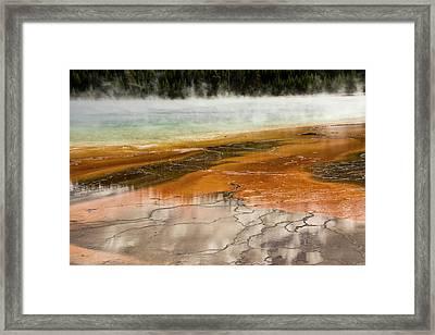 Grand Prismatic Spring, Middle Geyser Framed Print by Michel Hersen