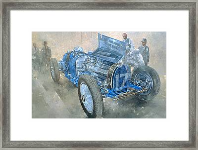 Grand Prix Bugatti Framed Print by Peter Miller