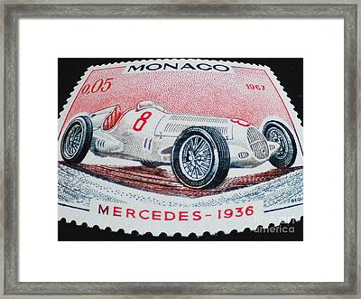 Grand Prix De Monaco 1936 Vintage Postage Stamp Print Framed Print by Andy Prendy