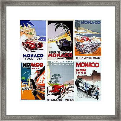 Grand Prix Of Monaco Vintage Poster Collage Framed Print