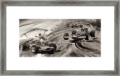 Grand Prix Problems Framed Print by Graham Coton