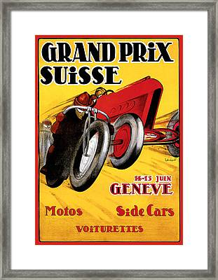 Grand Prix Suisse Geneve Framed Print by Vintage Automobile Ads and Posters