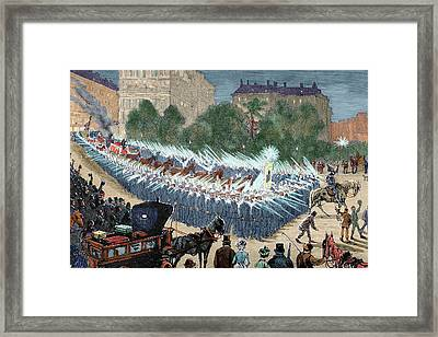 Grand Procession To The Electric Light Framed Print