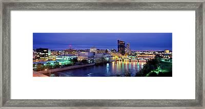 Grand Rapids At Dusk, Kent County Framed Print