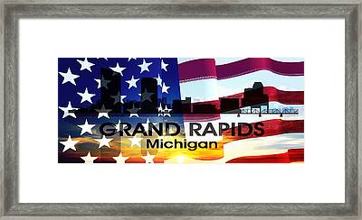 Grand Rapids Mi Patriotic Large Cityscape Framed Print