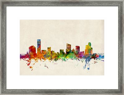 Grand Rapids Michigan Skyline Framed Print by Michael Tompsett