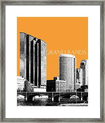 Grand Rapids Skyline - Orange Framed Print by DB Artist