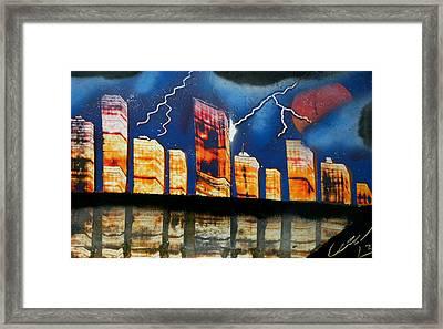 Grand Rapids Skyline At Night Framed Print by Chris DeVries