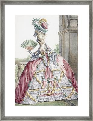 Grand Robe A La Francais, Engraved Framed Print by Claude Louis Desrais