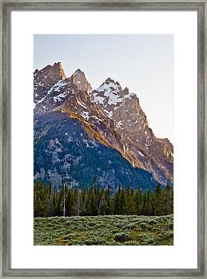 Grand Teton From Jenny Lake Framed Print by Adam Pender