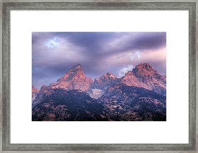 Framed Print featuring the photograph Grand Teton In Morning Clouds by Alan Vance Ley