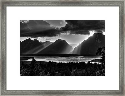 Grand Teton Light Beams Framed Print