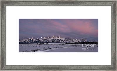 Grand Teton Moonset Framed Print by Sandra Bronstein