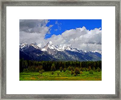 Grand Teton Mountains Framed Print by Bruce Nutting