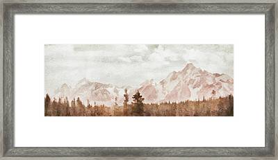 Framed Print featuring the painting Grand Teton Mountains by Greg Collins