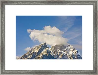 Grand Teton Peak And Cumulus Clouds Framed Print