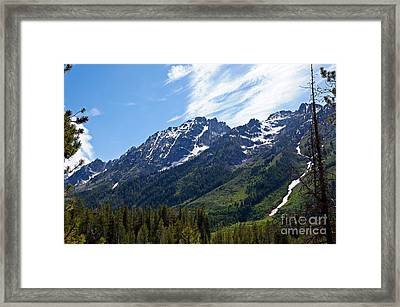 Grand Tetons And Clouds Framed Print