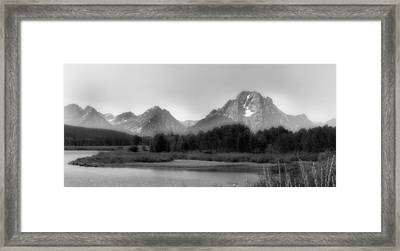 Framed Print featuring the photograph Grand Tetons Bw by Ron White