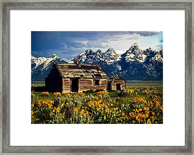 Framed Print featuring the photograph Grand Tetons Cabin by John Haldane