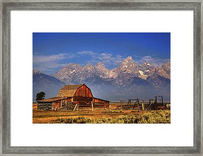 Grand Tetons From Moulton Barn Framed Print by Alan Vance Ley