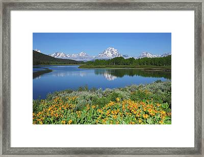 Grand Tetons From The Oxbow, Grand Framed Print
