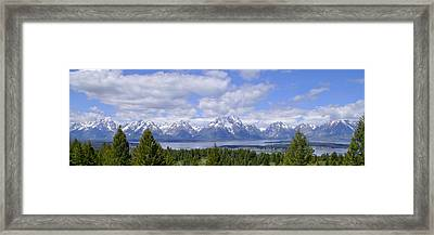 Grand Tetons Over Jackson Lake Panorama 2 Framed Print by Brian Harig