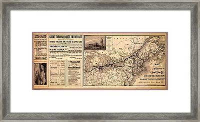 Grand Trunk Railway Map 1887 Framed Print by Mountain Dreams