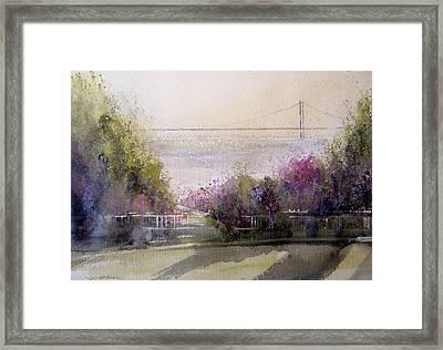 Grand View Mackinac Bridge Framed Print by Sandra Strohschein