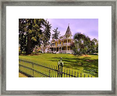 Framed Print featuring the photograph Grand Yellow Victorian And Gate by Becky Lupe