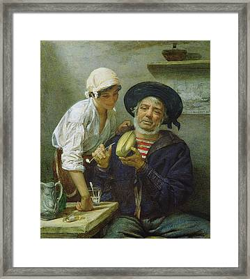 Grandads Mate Oil On Canvas Framed Print by Lawrence Duncan