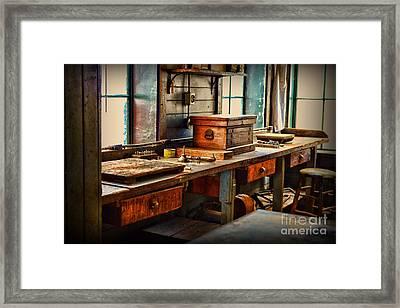 Granddad's Work Bench Framed Print