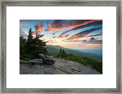 Grandfather Mountain Blue Ridge Parkway Nc Beacon Heights At Sunrise Framed Print by Dave Allen