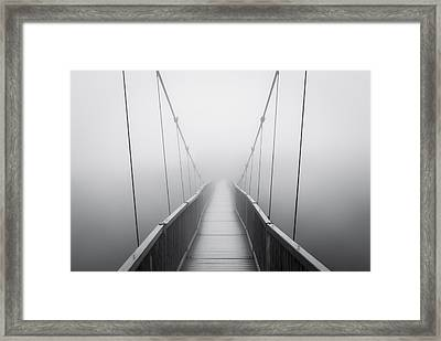 Grandfather Mountain Heavy Fog - Bridge To Nowhere Framed Print
