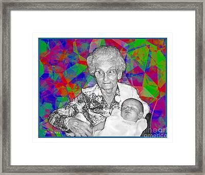 Grandma And Rose Framed Print by Joan  Minchak