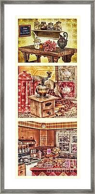 Grandma Kitchen Triptic Framed Print by Mo T
