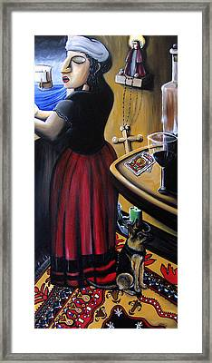 Grandma Reading The Cards Framed Print by Jose Gonzalez Lanza