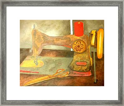 Grandma Sewing Machine Framed Print