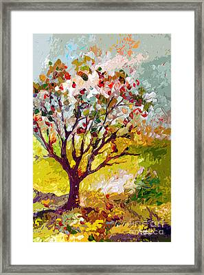 Grandmas Apple Tree Modern Art Framed Print by Ginette Callaway