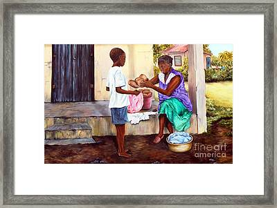Framed Print featuring the painting Grandma's Creole Bread by Anna-maria Dickinson