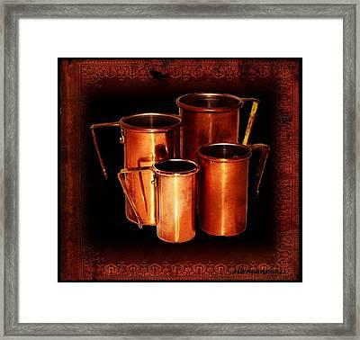 Grandma's Kitchen-copper Measuring Cups Framed Print by Ellen Cannon