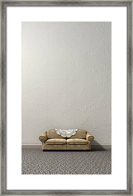 Grandmas Lonely Sofa Framed Print by Allan Swart