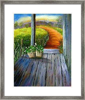 Grandma's Old Country Porch Framed Print by Janis  Tafoya