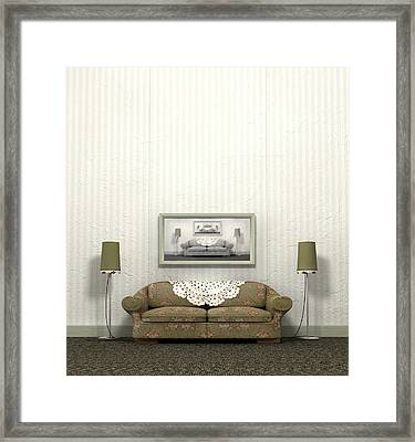 Grandmas Old Sofa Framed Print by Allan Swart