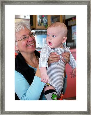 Grandmother And Baby Grandson Framed Print by Jim West