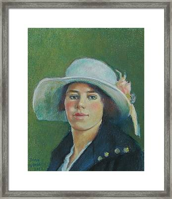 Grandmother In Pastel Framed Print by Janet Ashworth