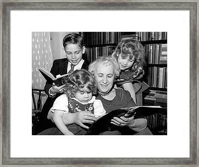Grandmother Is Back At School Framed Print
